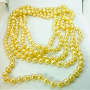 "55"" String Pearls Costume Single Strand Ivory"